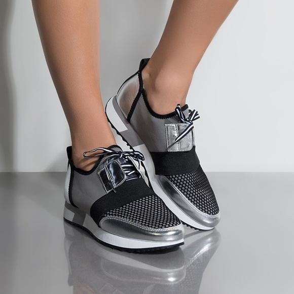 36c06cf85894c Steve Madden Shoes | Nib Antics Sneaker Silver Black | Poshmark